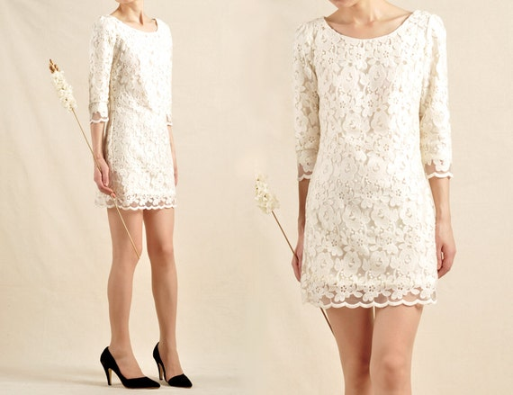 Beige Lace Bhldn Wedding Dress Or Bridesmaid Gown: Women Beige Lace 3/4 Sleeve Dresses Sexy Slim Wedding