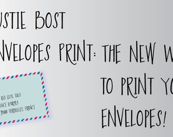 Austie Bost Envelopes Print is an all-caps font that takes on the appearance of super cute handdrawn envelope art!