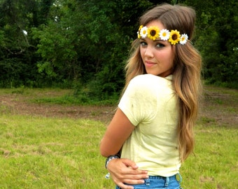 Flower Crown, Munchies Daisies and Sunflowers Flower Crown, Festival Wear