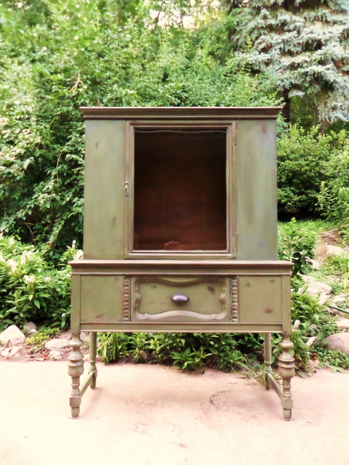 Vintage China Cabinet / Green China Cabinet / Green Hutch