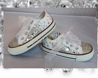Kids Crystal teardrop converse/Sparkle kids converse/wedding converse/sparkle chucks/flowergirl converse/ bridesmaid converse/ unique chucks