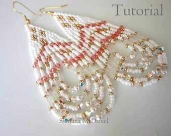 PDF seed bead beaded earrings - Swarovski crystal - native american style earrings