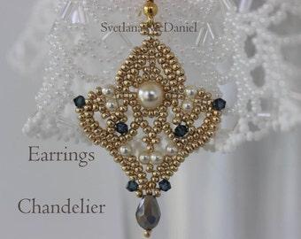 PDF tutorial seed beads earrings pattern Chandelier - Swarovski pearls crystals_ beadweaving