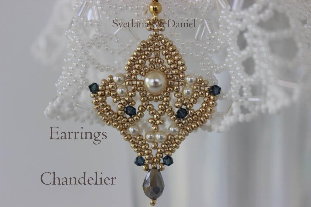 PDF tutorial seed beads earrings pattern Chandelier