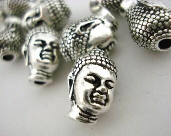 Buddha Head TierraCast Antique Silver 14mm Big Hole Beads Qty 4 Zen Buddhism Yoga Beads