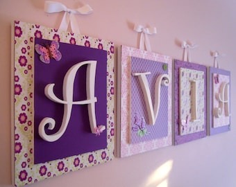Nursery letters, Lambs and Ivy, Butter Fly Lane, Purple Nursery, Girls Nursery Letters, Wooden Wall Letters, Purple Nursery Decor, Butterfly