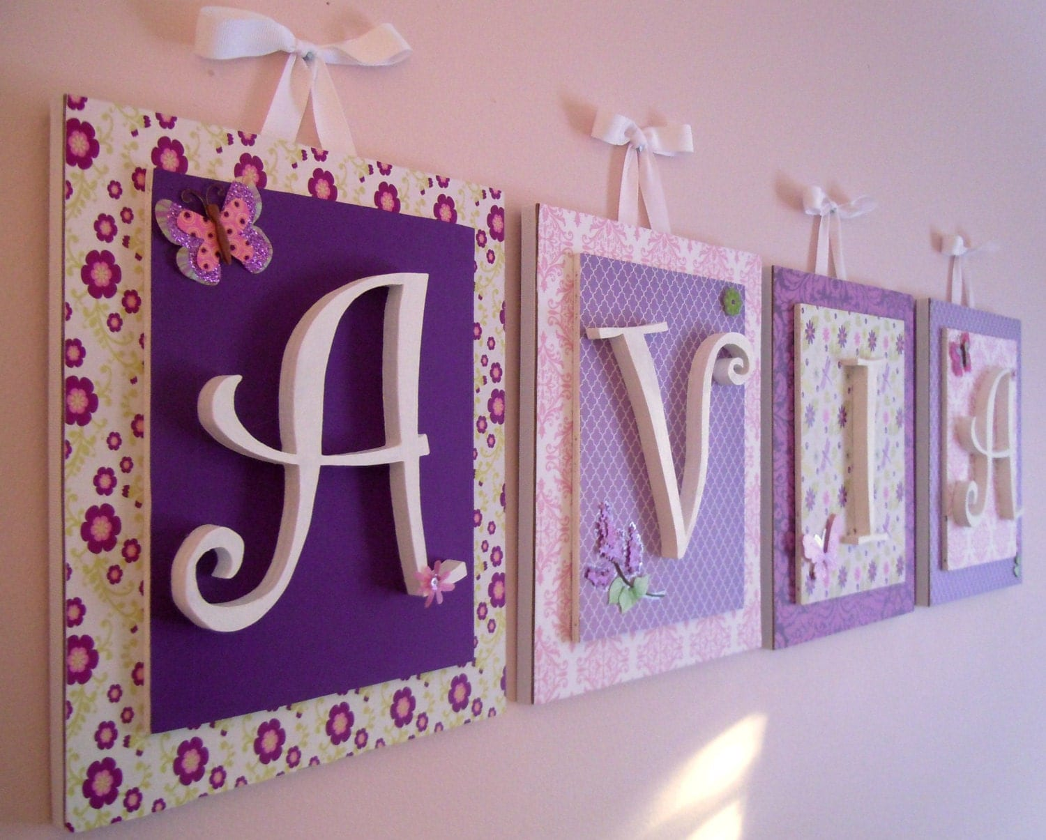 How To Decorate Wooden Letters For Nursery: Nursery Letters Lambs And Ivy Butter Fly Lane Purple