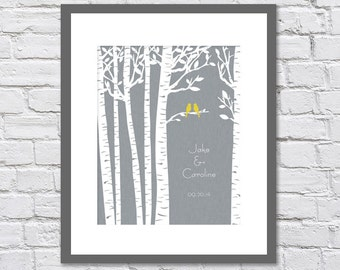 Birch Tree with Two Yellow Love Birds/ Linen background /Gift to Bride/ Gift to Groom / Wedding/First Paper Anniversary Date/ size is 8x10