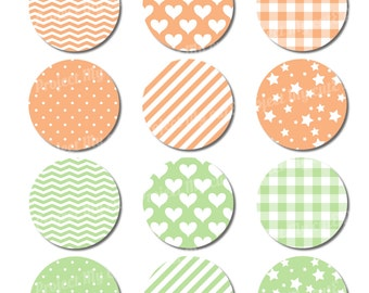 Cupcake toppers Peach & Celadon - Instant Download - Flag pennant - Party Printable