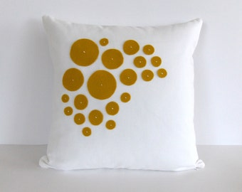 Yellow and White Decorative Pillow - White and Yellow Accent Pillow