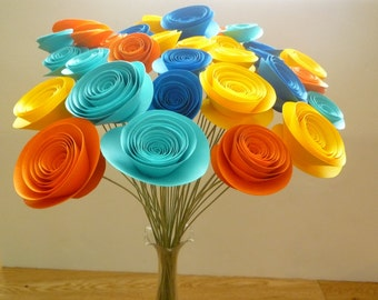 Paper Flower Bouquet, Yellow Paper Bouquet, Orange Paper Bouquet, Blue Paper Bouquet,  Yellow Centerpiece, Orange Centerpiece, Blue Flowers