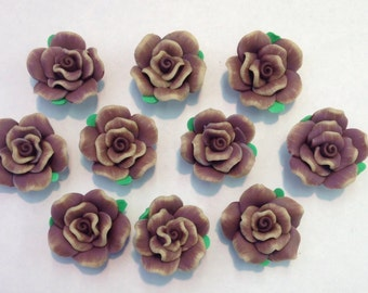 Polymer Clay Roses,10 pcs,Brown Polymer Clay Roses,Rose Beads,Clay Roses