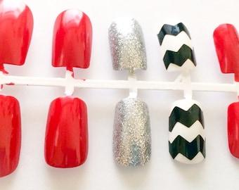 Fake nails chevron acrylic nails glitter false nails