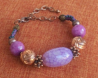 Burnished copper and stone bracelet