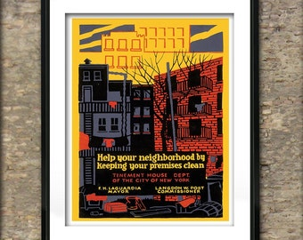 Vintage Keep Your Neighborhood Clean American Poster Art Print different sizes available