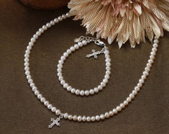 Sterling Silver First Communion Necklace and Bracelet Set with Freshwater Pearls and Cross Charm with Gift Box (011)