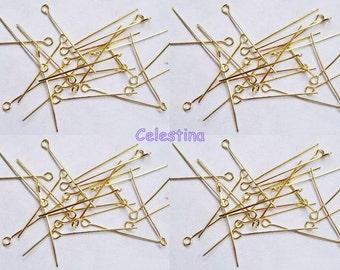 100 x Gold Plated Eye Pins 30mm x 0.7mm Eyepins - Nickel Free - NF - EP2