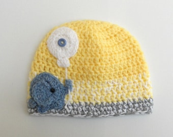 Elephant hat - Baby Elephant hat - yellow - Striped hat - Baby boy hat - Baby Girl beanie - Warm baby beanie - Newborn elephant Hat Crochet