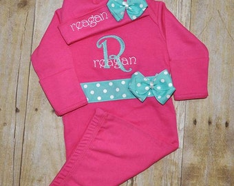 Personalized Newborn Gown & Hat Set - Take home Outfit