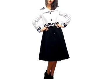 Black Winter Wool Coat - Flapper Cashmere Coat - Wool Jacket -Large size Jacket  Claudette