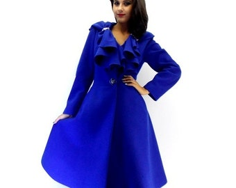 Navy Blue Coat Big Sweep Women Wool Winter Coat Long Jacket Tunic