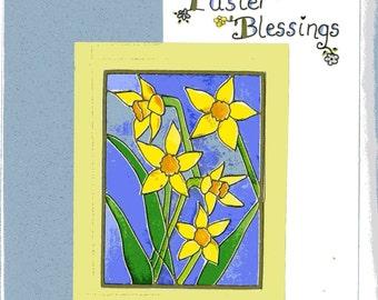 Easter Blessings, Easter Card,Daffodils original watercolour