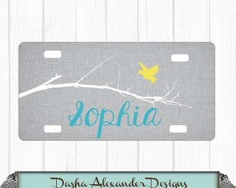 Bird on a Branch Linen License Plate - Personalized Car License Plate - Sweet 16 Gift for Girl - Car Tag!