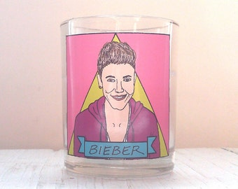 Justin Bieber Glass Votive Candle // LGBTQ Altar Candle