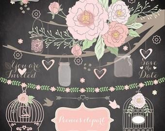 Peonies Wedding mason jar clipart flower, flower clipart, bridal clipart, wedding clipart, peony, peonies flower