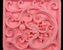 Dragons Playing Pearl Square  Soap Mold Soap Mould Silicon Mold Candle Mold Resin Mold