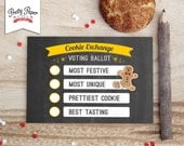 Holiday Cookie Exchange Voting Ballots // INSTANT DOWNLOAD // Christmas Cookie Swap // Printable CE01