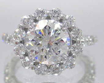 14k white gold round cut diamond engagement ring deco antique 1.85ctw