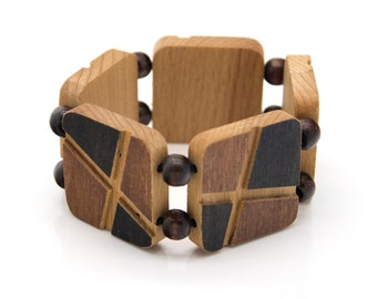 """Wooden bracelet. 2-in-1 Reversible. Reclaimed wood. Recycled. Eco friendly. Wood jewelry. Elastic bracelet. Stretch. Size: 6 5/16"""" (16 cm)"""