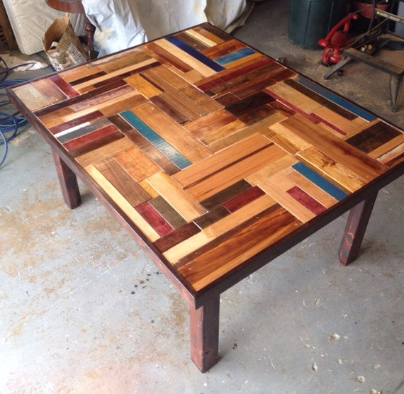 Custom Kitchen Table Basketweave Reclaimed Wood By