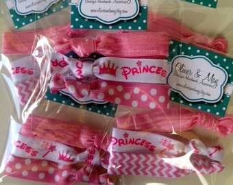 10 x 3 PRINCESS Birthday Party Favor Packs FOE Elastic Hair Ties