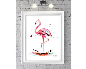The Pink Flamingo Watercolor Illustration Print-- Home/office decor and wall art, Pink prints