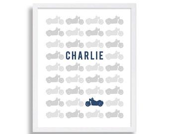 Motorcycle Nursery Print Baby Boys Room Nursery Art Blue and Grey Nursery Decor  Motorcycle Nursery Kids Room Art