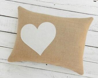 Burlap Throw Pillow, Decorative burlap pillow, burlap accent pillow, decorative pillow, throw pillow, burlap heart pillow