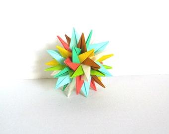 """Modular Origami Ball 4"""", Modern Centerpiece, Paper Sculpture, Spiky Geometric Summer Colors, Paper Sculpture, Modern Decor, Geometric Decor"""