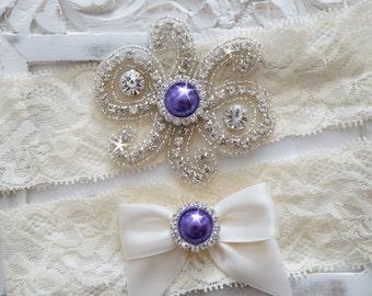 Custom Bridal Garter Set, Vintage Wedding, Crystal Garter Set, Stretch Lace Garter - Style 500A