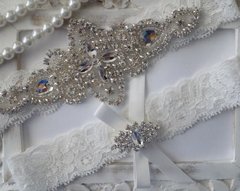 Wedding Garter Set, Bridal Garter Set, Vintage Wedding, Lace Garter, Crystal Garter Set, Something Blue - Style 100B