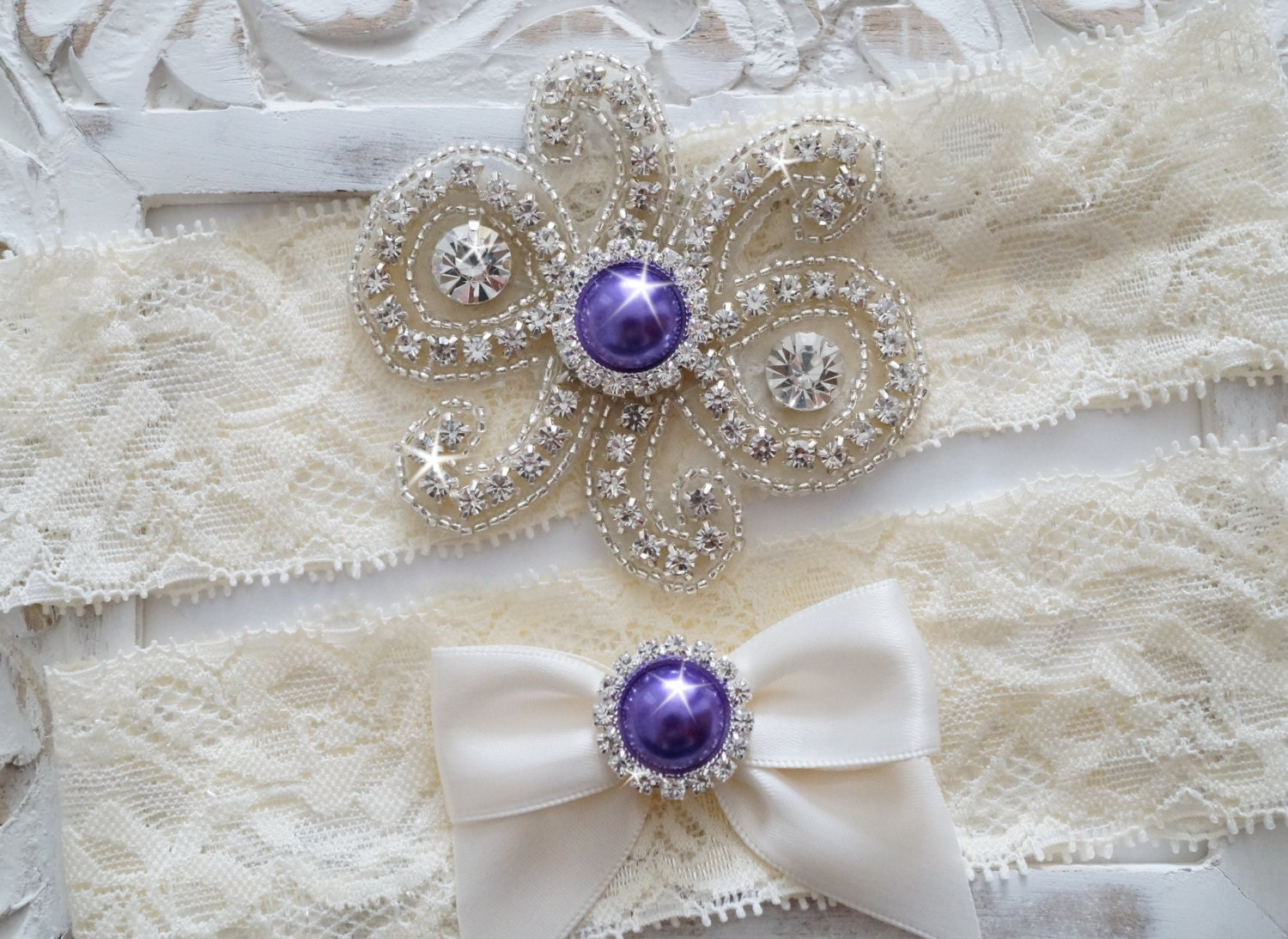 Custom Bridal Garter Set Vintage Wedding Crystal Garter Set