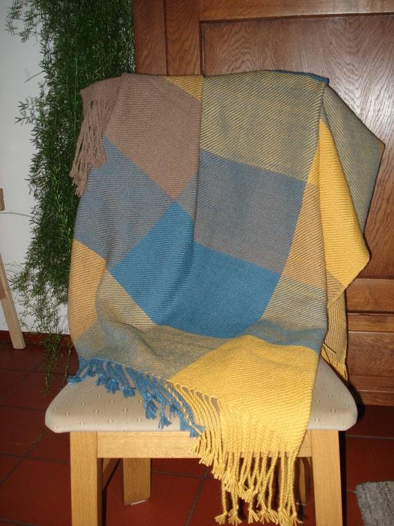 Throw or Blanket, 100% Alpaca Wool, Handwoven, colours goldenrod, medium petrol and light brown