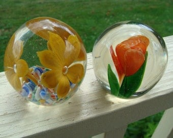 Set of two Vintage Hand Blown Art Glass Cased Flower Floral Tulip Paperweights