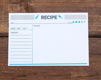 Letterpress Recipe Cards Set of 10