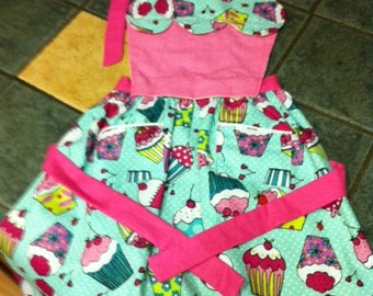 Child's Turquoise Blue and Bright Pink Cupcake Apron