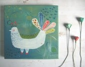 ORIGINAL BIRD PAINTING on canvas