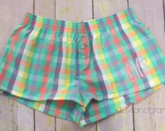 Monogrammed Plaid Boxers - Pajamas shorts - Special Price!