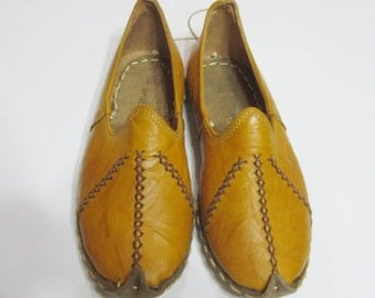 Turkish Yemeni Organic Hand Made Genuine Leather Shoes yellow