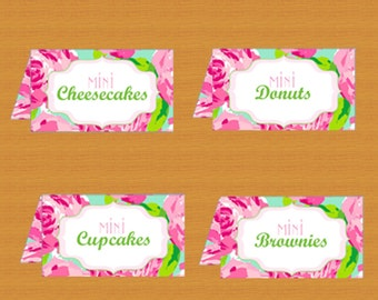 Food tent cards, Lilly Pulitzer, Printable